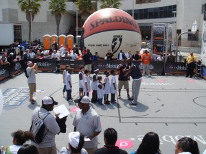 Adonal-Foyle-Basketball-Huddle-With-Kids-NBA -Nation